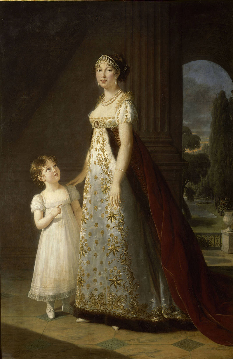 Caroline Murat, sœur de Napoléon 1er et reine de Naples, avec sa fille, par Élisabeth Louise Vigée Le Brun (1807)